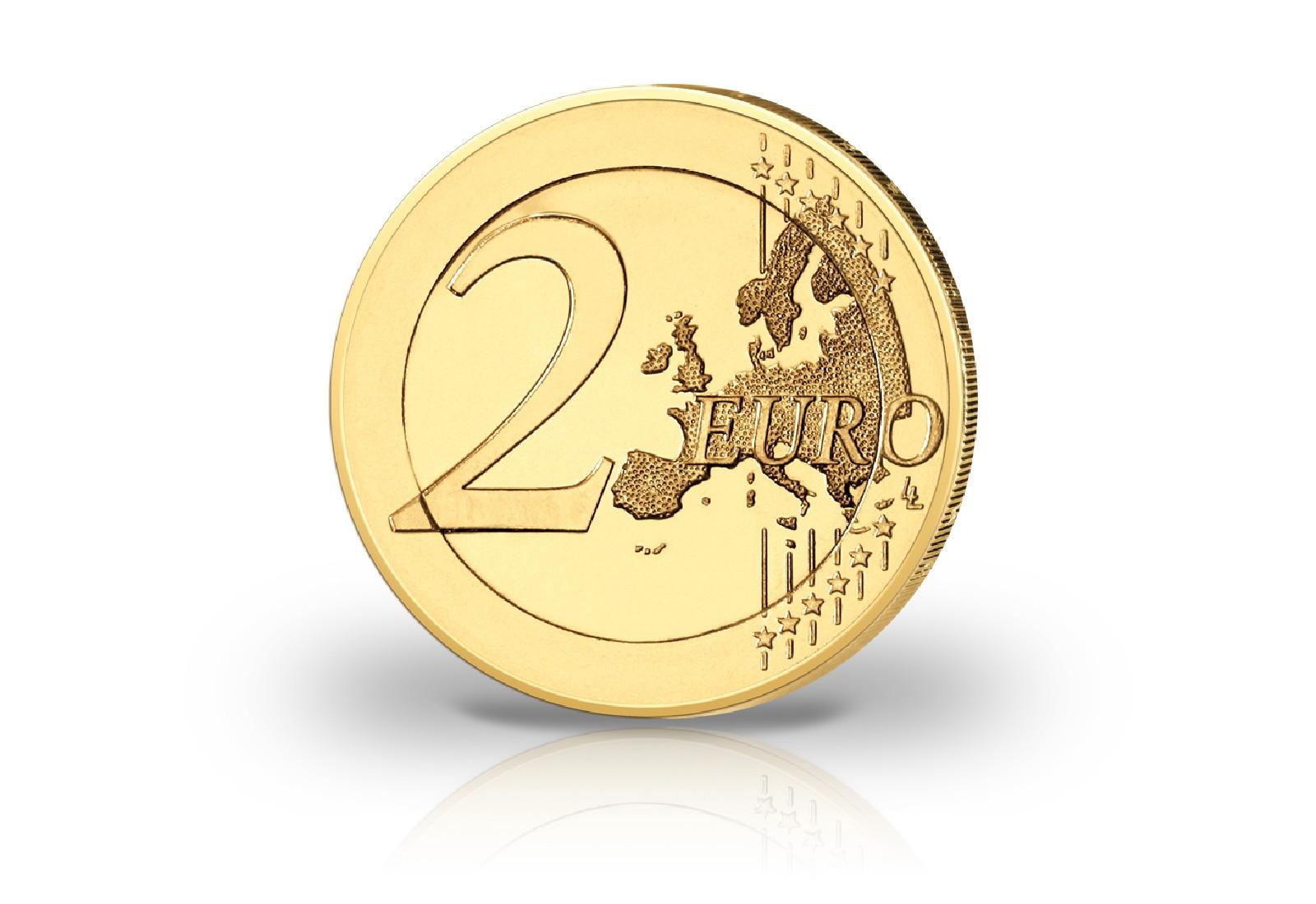 Brd 2 Euro Münze Helmut Schmidt Mit Farbmotiv Und 24kt Goldauflage