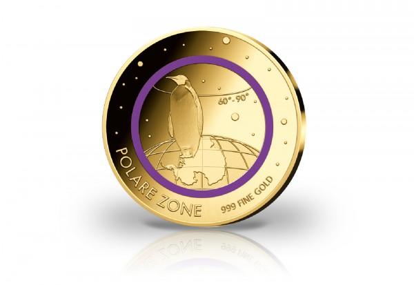 Goldmünze Motiv Polare Zone 2020 veredelt mit violettem Farbring