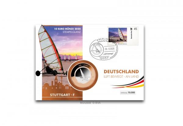 10 Euro 2020 Deutschland An Land mit Polymerring st Prägestätte F im Numisbrief