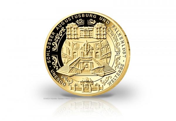 100 Euro Gold 2018 BRD st Schlösser Augustusburg und Falkenlust in Brühl Prägestätte unserer Wahl