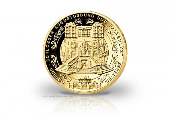 BRD 100 Euro Goldmünze 2018 st Schloss Augustusburg und Falkenlust in Brühl Prägestätte D