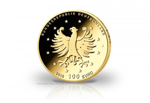 BRD 100 Euro Goldmünze 2018 st Schloss Augustusburg und Falkenlust in Brühl Prägestätte J