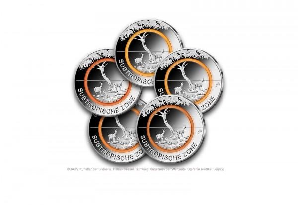 5 Euro 2018 Deutschland Subtropische Zone mit orangem Polymerring Prägestätten A-J