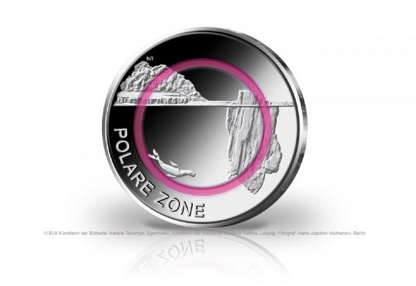 5 Euro 2021 Deutschland Polare Zone mit Polymerring PP Prägestätte unserer Wahl