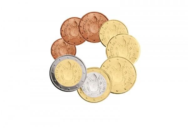Kursmünzensatz 2017 Vatikan Wappen Papst Franziskus st lose