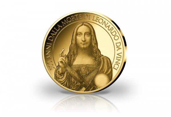 Goldausgabe Vatikan zum 500. Todestag von Leonardo da Vinci Salvator Mundi