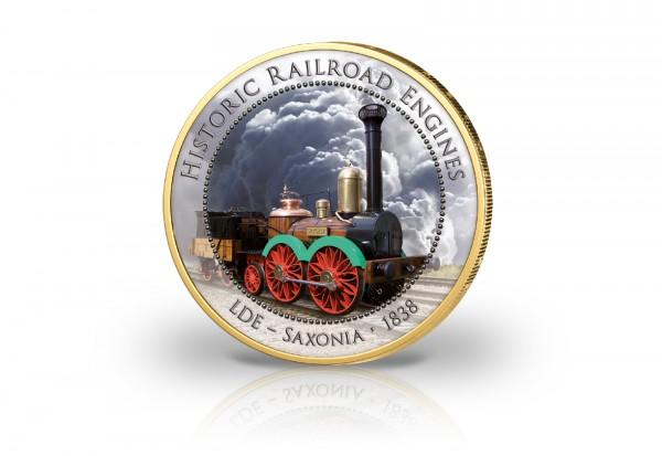 2 Euro LDE Saxonia 1838 mit Farbmotiv und 24 Karat Goldauflage