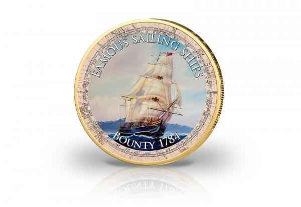 2 Euro Segelschiff Bounty mit Farbmotiv und 24 Karat Goldauflage