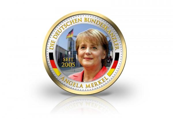 2 Euro-Münze mit Farbmotiv Angela Merkel mit Gold veredelt