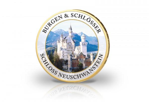 2 Euro Schloss Neuschwanstein mit 24 Karat Goldauflage und Farbmotiv