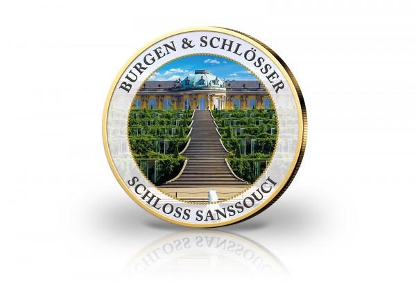 2 Euro mit Farbmotiv Schloss Sanssouci veredelt mit Kaltemaille und 24 Karat Goldauflage