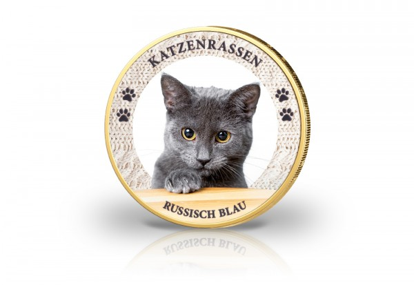 2 Euro Katzenrassen Russisch Blau mit Farbmotiv und 24 Karat Goldauflage