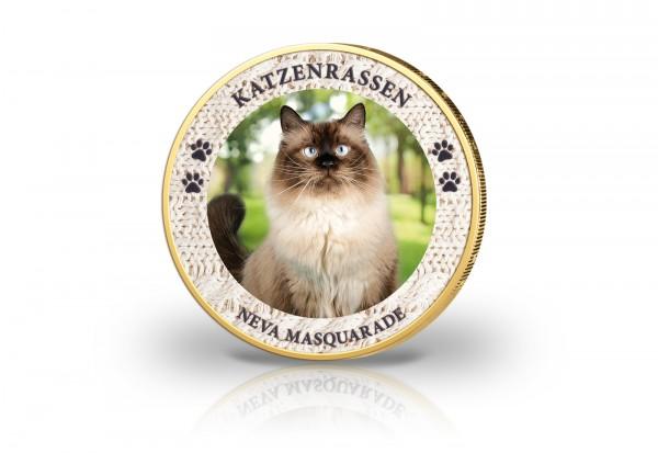 2 Euro Katzenrasse Neva Masquarade veredelt mit Kaltemaille und 24 Karat Goldauflage