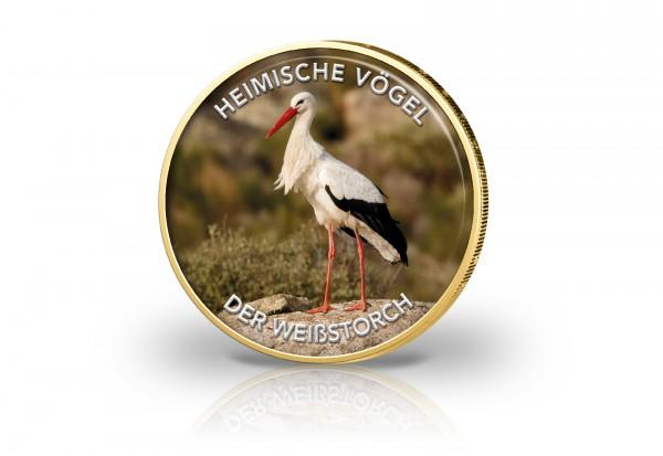 2 Euro mit Farbmotiv veredelt mit 24 Karat Gold Heimische Vögel Weißstorch