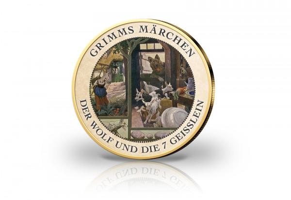 2 Euro Der Wolf und die sieben Geißlein veredelt mit Kaltemaille und 24 Karat Goldauflage