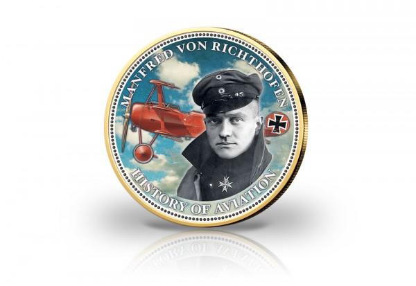 2 Euro Manfred von Richthofen - 24 Karat Goldauflage und Farbmotiv - 100. Todestag des Roten Barons