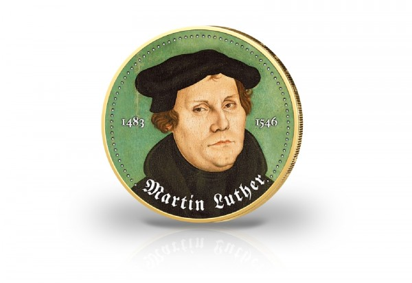 Martin Luther - 500 J Reformation 2 Euro Farbapplikation