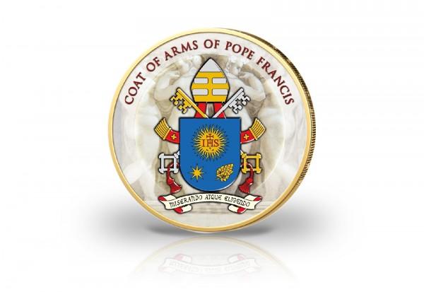 2 Euro Vatikan Wappen des Papstes mit Kaltemaille und 24 Karat Goldauflage