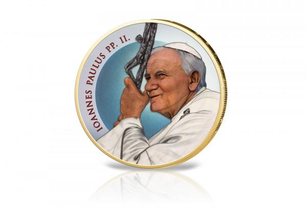 2 Euro-Münze Papst Johannes Paul II. Papstjubiläum mit Farbmotiv und 24 Karat Goldauflage