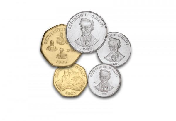 Kursmünzensatz Haiti 5 Münzen im Blister