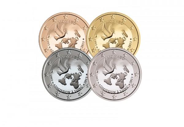 2 Euro Monaco 2013 20 Jahre UNO Edelmetallset im Blister