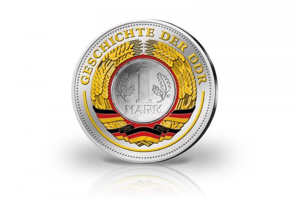 DDR 5 Mark 1969 20 Jahre DDR mit 24 Karat Goldauflage und Farbmotiv