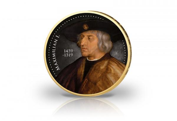 2 Euro Kaiser Maximilian I. veredelt mit 24 Karat Gold und farbigem Kaltemaille-Motiv