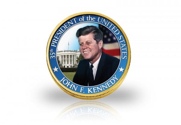Half Dollar Kennedy John F. Kennedy veredelt mit 24 Karat Goldauflage und Farbapplikation