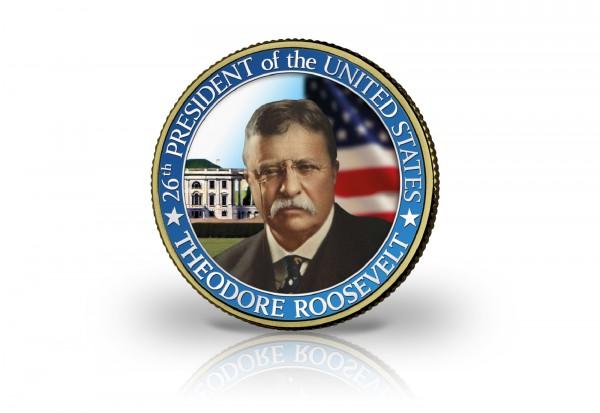 1/2 Dollar USA Theodore Roosevelt veredelt mit 24 Karat Goldauflage und farbigem Kaltemaille-Motiv