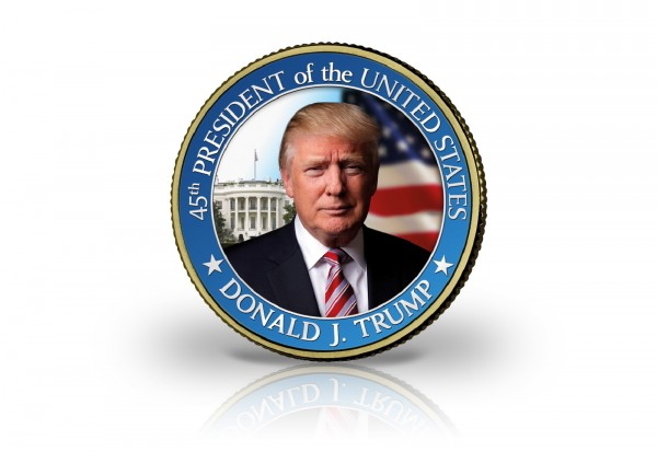 USA Halb Dollar mit Farbmotiv Präsident Donald Trump