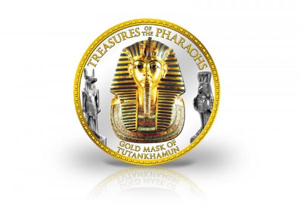 1 Pound Ägypten Tutanchamun veredelt mit Kaltemaille und 24 Karat Goldauflage