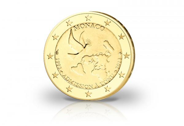 Monaco 2 Euro 2013 UNO mit 24 Karat Goldauflage