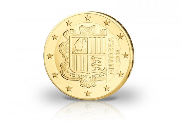 Andorra 2 Euro 2014 Wappen mit 24 Karat Goldauflage