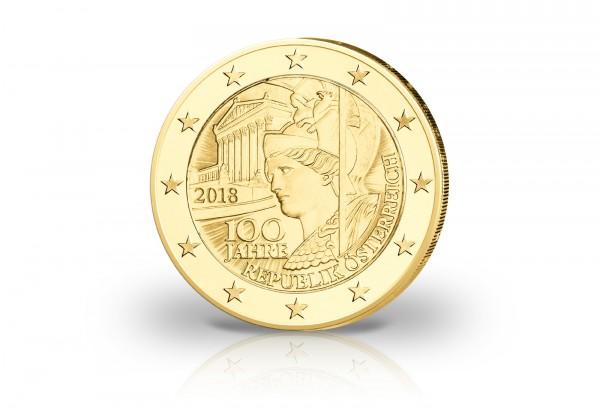2 Euro Österreich 2018 100 Jahre Republik mit 24 Karat Goldauflage