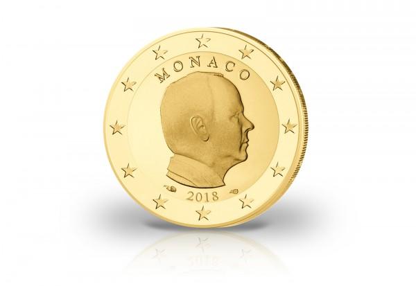 Monaco 2 Euro 2018 Albert II. mit 24 Karat Goldauflage