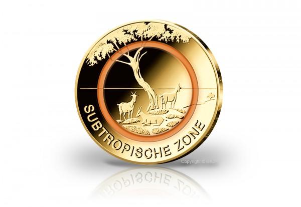 BRD 5 Euro Subtropische Zone Prägestätte unserer Wahl mit 24 Karat Goldauflage