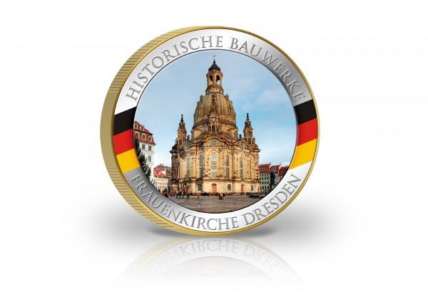 2 Euro-Münze veredelt mit Gold und Farbmotiv Dresdner Frauenkirche