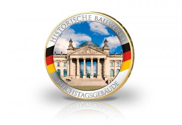2 Euro Reichstag Berlin mit Farbe und 24 Karat Goldapplikation