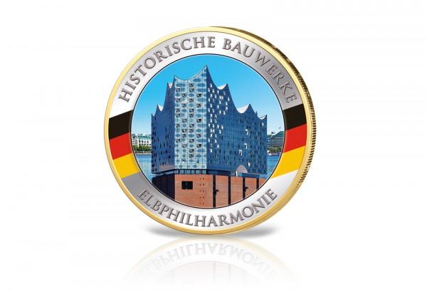 2 Euro-Münze Elbphilharmonie mit Farbmotiv und 24 Karat Goldauflage