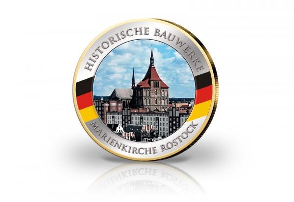 2 Euro Marienkirche Rostock mit Farbmotiv