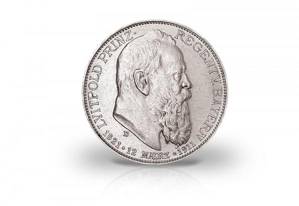 Bayern 2 Mark Silbermünze 1911 Prinzregent Luitpold ss/vz
