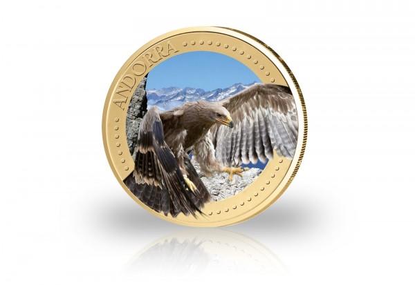 2 Euro Andorra Steinadler mit Farbapplikation und 24 Karat Goldauflage