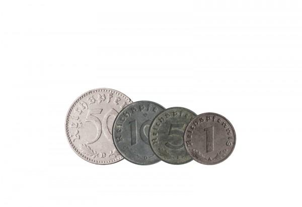 Letzte Münzen des 3. Reichs 1, 5, 10 und 50 Reichspfennig