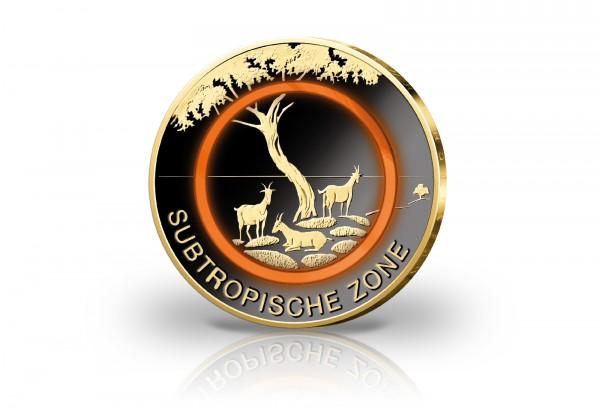 BRD 5 Euro Subtropische Zone mit Schwarzrhodium und 24 Karat Goldauflage