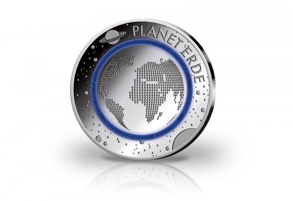 Gedenkausgabe Silber Planet Erde mit blauem Polymerring