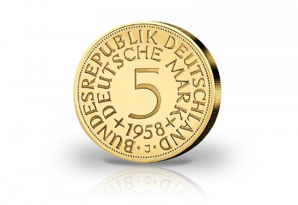 Gigantenprägung 5 DM veredelt mit 24 Karat Goldauflage