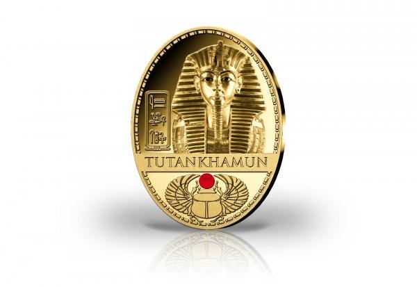 Gigantenprägung Tutanchamun Äypten mit Schmuckstein und veredelt mit 24 Karat Goldauflage