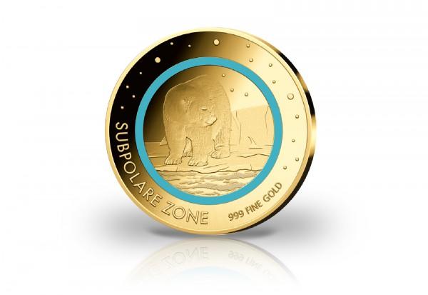 Goldausgabe 1/500 oz Subpolare Zone veredelt mit türkisem Farbring