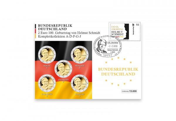 2 Euro 2018 Deutschland Helmut Schmidt 100. Geburtstag Prägestätte A-J im Numisbrief