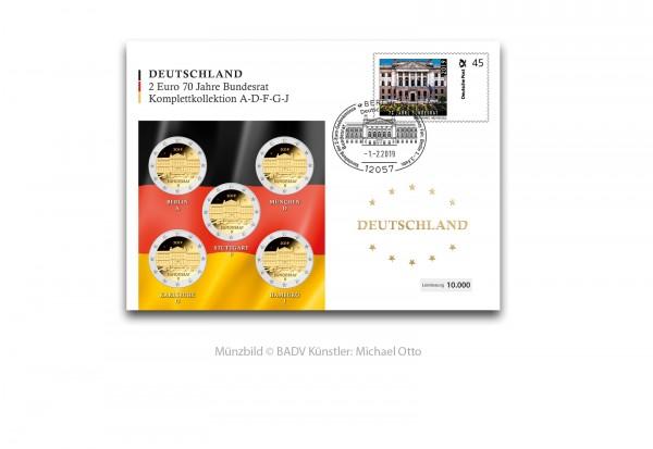 2 Euro 2019 Deutschland 70 Jahre Bundesrat Prägestätte A-J im Numisbrief mit Sonderstempel